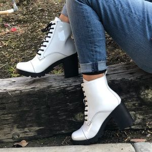 Shoes - White patent ankle bootie
